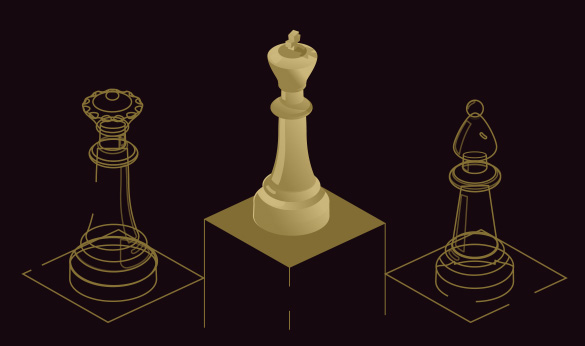 chess figures on podium